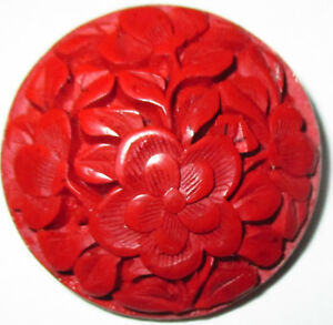 Antique Button Lg Highly Detailed Hand Carved Red Cinnabar Flowers 1 1 4