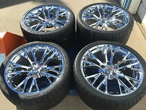 19 20 Inch Staggered Oem Z06 Chrome Corvette Wheels Rims Michelin Tires Set