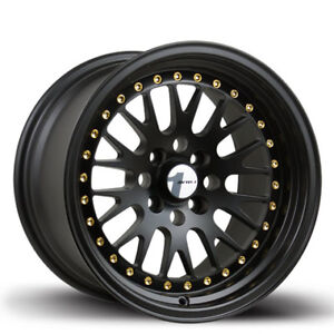 Avid1 Av12 15x8 25 4x100 Full Matte Black W Gold Rivets set Of 4
