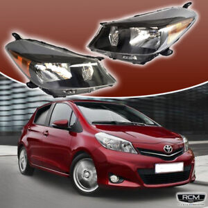 Fit For Toyota Yaris Hatchback Headlights Black Housing Set Clear Lens 12 14