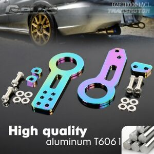 Billet Aluminum Racing Front Rear Tow Hook Kit Cnc Jdm Anodized Neo Chrome