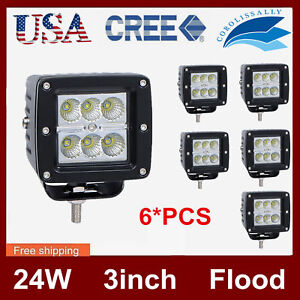 6x 3 in 24w Led Work Light Flood Beam Offroad Driving Truck Suv Boat Lamp Square