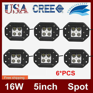 6x 5inch 16w Square Led Work Light Flush Mount Offroad Cube Truck Pods Spot 24w