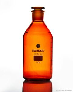 Borosil Amber Reagent Bottles Plain Narrow Mouth Graduated 1000 Ml Cs 10