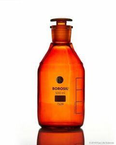 Borosil Amber Reagent Bottles Plain Narrow Mouth Graduated 500 Ml Cs 10