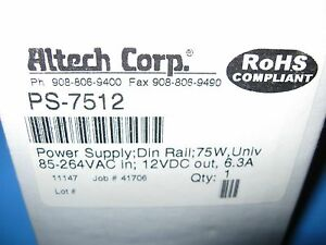 Altech Corp Power Supply Ps 7512 Ac dc 12v 6 3a 85 264v In Enclosed Din Rail