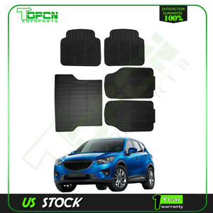 5pc Black Rubber Car Front Rear Trunk Floor Mat All Weather Water Dust Resistant