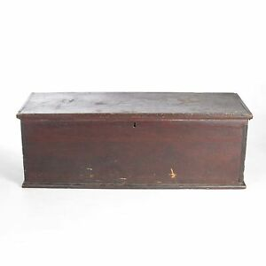 Antique Blanket Chest Primitive 19th C Pine Box Trunk Wooden Painted Dovetailed