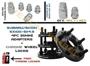15mm Subaru 5x100 To Scion 5x114 3 Conversion Adapter With Wheel Locks 12x1 25