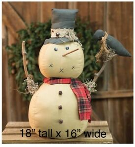 Last Chance Sale Xxl Primitive Grungy Snowman With Crow Christmas Snowman Doll