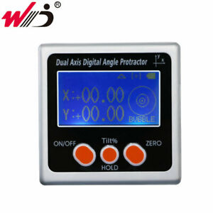 New Metal Dual Axis Digital Inclinometer Electronic Protractor With Backlight
