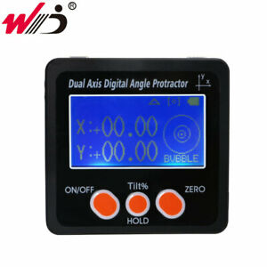 New Aluminum Alloy Frame Digital Inclinometer Dual Axis Protractor Angle Gauge
