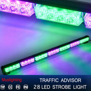 31 28 Led Emergency Warning Traffic Advisor Strobe Light Bar Green Purple 12v