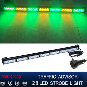 31 28 Led Emergency Warning Traffic Advisor Strobe Light Bar Green Amber 12v