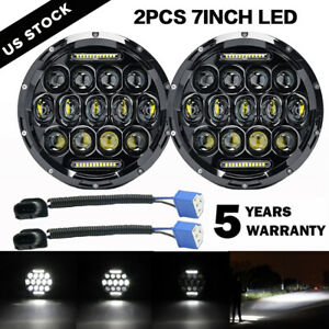 Pair 7 Inch 75w Led Headlight Hi lo Beam Drl Fit Jeep Wrangler Cj Jk Lj Rubicon