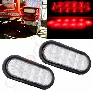 2pcs 6 Oval Stop Turn Tail Light Complete Clear Lens Red 10 Led Trailer Truck