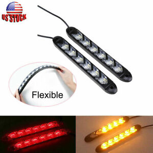 2pcs 6 Led Knight Rider Strip Light Red amber Arrow Flasher Drl Turn Signal