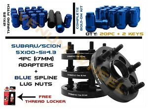 5x100 To 5x114 3mm 5x4 5 17mm Hubcentric Wheel Spacers 12x1 25 Blue Lug Nuts