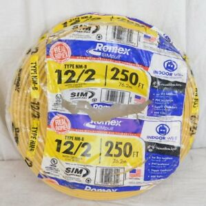 Southwire Romex Simpull 250 ft 12 2 Non metallic Wire by the roll 28828269 New