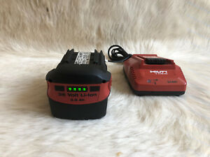 Lot Of Hilti B36 3 9 Batteries 36v 3 9ah And C 4 36 90 Acs Charger