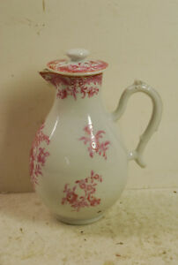 18 C Porcelain Lidded Milk Jug Painted Roses Probably French Or German No Mark