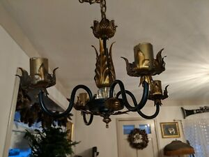 Gorgeous Vintage 13 Italian Tole Chandelier Black Gold Gilt W Original Canopy