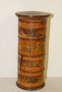 English 4 Unit Wooden Screw Together Spice Box Several Large Age Cracks 19 C