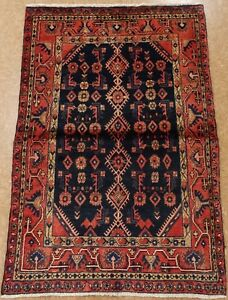 Persian Hamedan Tribal Hand Knotted Wool Navy Blue Red Oriental Rug 3 8 X 5 4