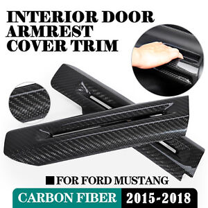 For Ford Mustang 2015 2018 Carbon Fiber Interior Door Armrest Decor Cover Trim