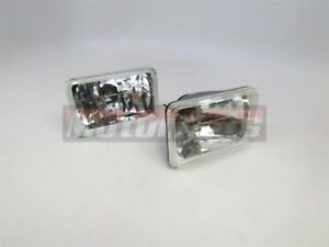 2x Square Head Light Lamp H4 Bulb Clear Glass Lens Rectangle Jeep Yj 6x4 Rat Rod