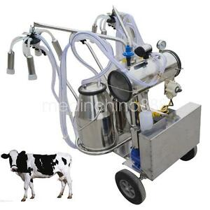 Portable Electric Vacuum Pump Milking Machine Cows Double Tank Buckets Us