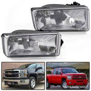 Clear Fog Lights For Chevy 2007 2014 Silverado Tahoe Suburban Avalanche Bumper