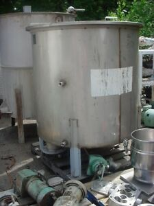 375 Gallon Stainless Steel Tank Slant Bottom Mix Or Storage