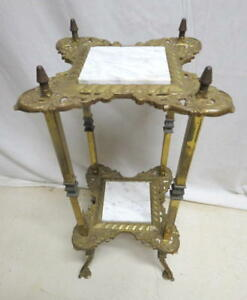 Antique French Brass Marble Plant Fern Candle Stand Foyer Side Lamp Table 1920