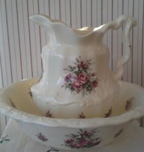 Vintage Athena Virgil California Large Victorian Rose Pitcher And Basin
