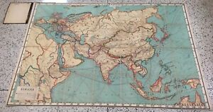1920 S Canvas Political Wall Map Eurasia By J Paul Goode Rand Mcnally 44 X 63