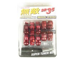 Muteki Sr35 Extended Closed Ended Wheel Tuner Lug Nuts Chrome Red 12x1 25mm New