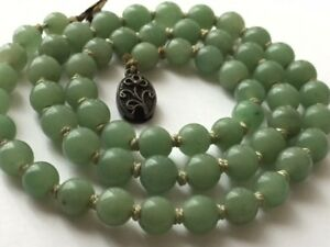 Chinese Antique Vintage Green Jade Bead Necklace Silver Clasp 21 Long Hand Tied