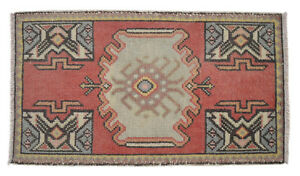 Vintage Distressed Small Area Rug Hand Knotted Oushak Yastik Rug 1 9 X 3 1