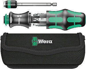 Wera Tools Bayoneting Screwdriver With Internal Bit Storage And Pouch