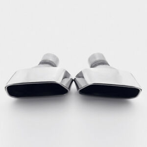 New 2 5 Inlet Exhaust Tips Rolled Edge Slanted Rectangle 304 Stainless Steel