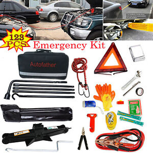 Tire Wheel Lug Wrench Scissor Jack Kit Roadside Assistance Emergency Car Garage