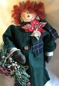 Primitive Christmas Raggedy Ann Doll Poinsettia And Basket