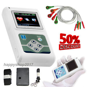 24 Hours Holter Ecg Monitor Electrocardiogram Heart Function 3 Channels Software