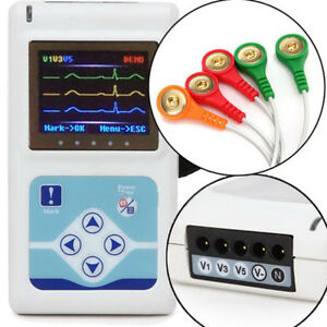 3 Channel 24 Hours Recorder Ecg ekg Holter Monitor System Free Software Usa Fda
