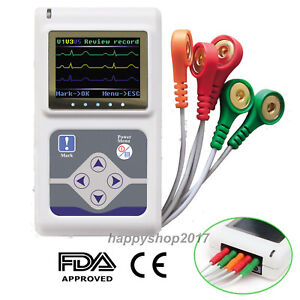 Ecg ekg Holter Recorder Analyzer 24 Hours Monitor 3 Channel System Us Seller Fda