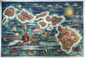 1950 Vintage The Dole Map Of The Hawaiian Islands Illustrated Map With Legend