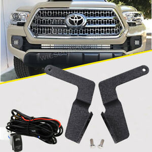Fit 16 Up Toyota Tacoma Lower Bumper Brackets W Switch Wiring For 30 Light Bar