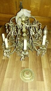 Vintage Spanish Brass Chandelier With Crystal Prisms