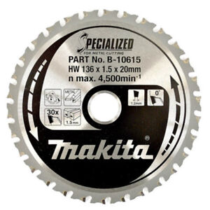 Makita B 10615 Circular Saw Blade 136mm X 20mm X 30t Mild Steel Cordless
